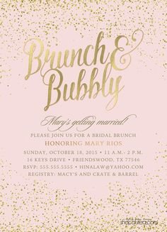 Brunch & Bubbly Bridal Shower Invitations by ShopAureaInvites