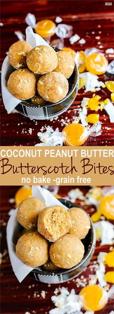 """Grain Free no bake coconut peanut butter butterscotch bites! These healthy energy bites are easy to make and made with natural ingredients! They are the perfect butterscotch """"candy"""" snack for Holiday parties. Make as a dessert, travel food, or just for satisfying a serious sugar craving! Gluten free and Vegan friendly. @nutiva"""