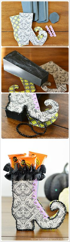 Halloween witch shoe treat boxes