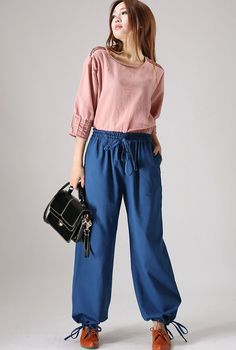 Casual Blue linen trousers woman maxi pants elastic waist pants (844)