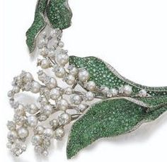 Cartier emerald, pearl and diamond Lillie's of the valley brooch.❤❤