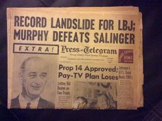 Press Telegram Nov 4, 1964 Record Landslide For LBJ; Murphy Defeats Salinger