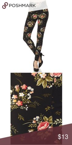 Just in! Floral leggings Boutique item. Brand new. Floral Print Brushed Ankle Leggings  One size fits 2-12 comfortably   Cute and super soft brushed legging, featured in a floral print.  Smooth and super comfortable fit in a very soft brushed peach skin fabric  Paneled elastic waistband  Approx. 27 in. inseam 92% polyester, 8% spandex Pants Leggings