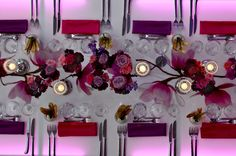 Pink and purple long table shot by Dick Walsh and Celebrations - love the overhead shot of the table