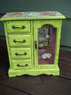 Citron Green shabby chic jewelry box with warm pink interior, necklace carousel, and ring compartment, along with three other drawers.