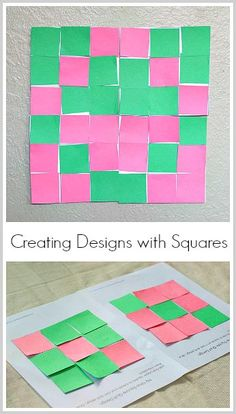Geometry for Kids: Creating designs and patterns with 9 square paper quilt templates! (FREE printable)~ BuggyandBuddy.com
