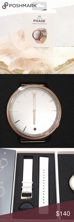 Misfit PHASE Hybrid Smartwatch Rose Gold & White NEW in box never used or worn.  White band, silver face and clasp with rose gold trim and hands.  Smart phone notification.  Movement reminder.  Wake up alarm.  Tells your steps, distance and calories.  Water resistant to 50m. No charging! Misfit Accessories Watches