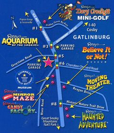 Here is a map of all of the Ripley's Attractions in Gatlinburg and Pigeon Forge Tennessee. Cabins rentals are the way to go in the Smoky Mountains http://www.vrbo.com/vacation-rentals/usa/tennessee/east/gatlinburg