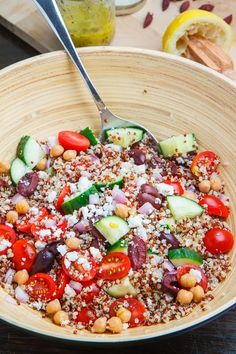 The Best Healthy Recipes: Mediterranean Quinoa Salad. A Mediterranean-inspired quinoa salad with juicy tomatoes and cucumbers along with tangy red onions and salty kalamata olives and feta.