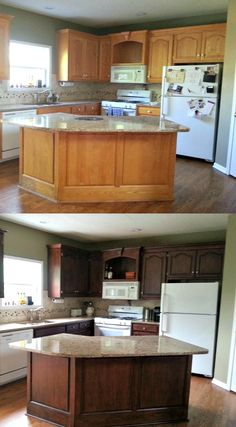 Kitchen Cabinet : How to Stain Kitchen Cabinets. How To Stain Kitchen Cabinets Darker. How To Stain Kitchen Cabinets Darker Without Sanding. How To Stain Kitchen Cabinets Lighter. Stained Kitchen Cabinets, Diy Cabinets, Updating Oak Cabinets, Staining Oak Cabinets, Restaining Kitchen Cabinets, How To Refinish Kitchen Cabinets, Cabinet Stain, Cabinet Hardware, Cabinet Refinishing