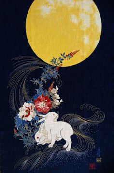 Rabbits Under Moon Panel Rabbits and bright golden yellow moon/ flowers on indigo metallic gold outlines-Japanese fabric panel-sides are raw edges. Moon: In Japanese folklore, the rabbit (usagi) resides on the moon. Year Of The Rabbit, Japanese Folklore, Japon Illustration, Rabbit Art, Japan Art, Japanese Fabric, Moon Art, Chinese Art, Traditional Art