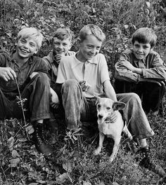 +~+~ Vintage Photograph ~+~+  Happiness means being with your best friends and your dog.  Richwood, West Virginia, 1942