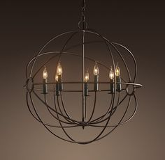 "Foucault's Iron Orb Chandelier Rustic Iron Medium $750 32"" diameter, 34""H, 24"" chain"