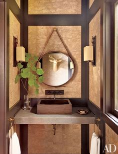 Powder Rooms Sure to Impress Any Guest Photos   Architectural Digest Architectural Digest, Farrow Ball, Rustic Powder Room, One Kings Lane, Thom Filicia, Palazzo, Cork Wall, Wall Mounted Sink, Creative Walls