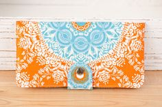 Handmade  Wallet - BiFold Wallet - Vegan Wallet / Aqua Lace in Tangerine -- PREORDER. $50.00, via Etsy.