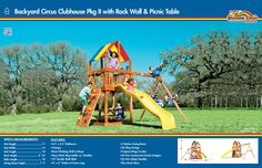 7 Backyard Circus Clubhouse Pkg II with Rock Wall and Picnic Table #swingsets #rainbowplay #rainbowplaysystem #rainbowplaysystems