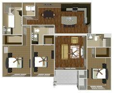 The Bentley (Three Bedroom)   1500 SF