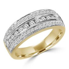 Shine a little brighter with this Diamond Anniversary Wedding Band Ring in 14K Yellow Gold #anniversary #rings #diamonds