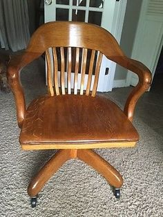 Bankers CHAIR Court House ANTIQUE VINTAGE TIGER OAK Wheels VERY NICE