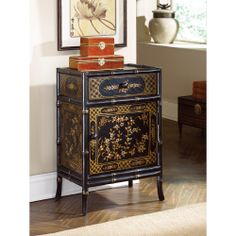 This Asian-inspired chest features gold accents that warm up the room. Mix and match pieces to create a unique living space. Hammary Furniture. Hidden Treasures Collection.