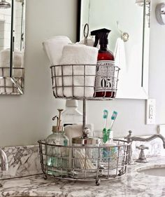 Let's face it, it's hard to keep you bathroom countertop clean, especially if you're sharing it with others. One idea is to clear your counter of non-essentials, or things you don't use every day.  Once you have only the everyday items, get a wire tiered stand that you'd normally find in the kitchen aisle of a home goods store and place them on there.