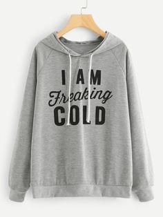 Slogan Print Hoodie -SheIn(Sheinside) Boho fashion  6f1c8f2164