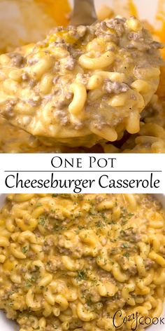 This Cheeseburger Casserole is made in one pot and takes just 30 minutes It s a cheesy meaty and easy macaroni dinner A homemade version of Hamburger Helper comfortfood pasta familydinneridea dinnersforkids groundbeef Easy Casserole Recipes, Casserole Dishes, Easy Dinner Recipes, Hotdish Recipes, Easy One Pot Meals, Pasta Casserole, Quick Meals, Crockpot Recipes Pasta, One Pot Recipes