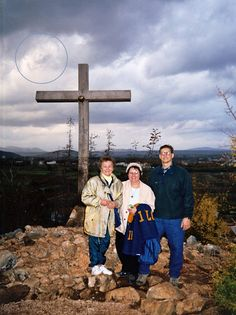 Medjugorje, apparition of the Blessed Virgin Mary in the clouds.