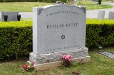 """Actress Estelle Getty found """"overnight fame"""" at the age of on TV's """"The Golden Girls"""", playing Bea Arthur's mother. She was my favorite - priceless! Cemetery Headstones, Cemetery Art, Estelle Getty, Famous Tombstones, Lewy Body, Church Pictures, Grave Markers, Famous Graves, Graveyards"""