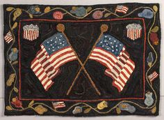 hooked rug...Americana...Flags and Shields...love...