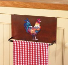 Rooster Over The Door Towel Bar Rooster Rooster Decor, Red Rooster, Kitchen Towels, Kitchen Decor, Hen Farm, Door Bar, Country Chicken, Rooster Kitchen, Collections Etc