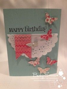 Happy Birthday Butterfly up birthday Diy Projects To Try, Craft Projects, Scrapbook Cards, Scrapbooking, Butterfly Birthday Party, Diy Cards, Handmade Cards, Embossed Cards, Butterfly Cards