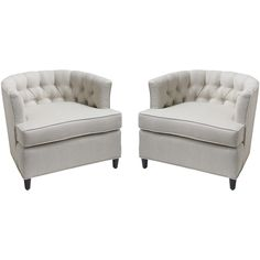 Pair of Tufted Barrel Chairs