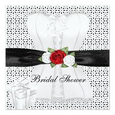 Bridal Shower Black White Corset Red Roses Flower
