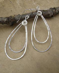 Double Teardrop Earrings Long Silver Earrings by nicholasandfelice, $ 28.00