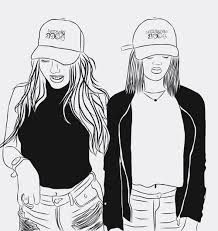 Image Result For Best Friend Outline Drawing Tumblr Bianco E Nero Bff Disegno Ragazze