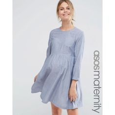 ASOS Maternity Long Sleeve Chambray Smock Dress ($57) ❤ liked on Polyvore featuring maternity and blue