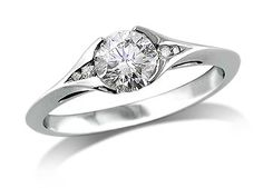Platinum set single stone diamond engagement ring, with a certificated brilliant cut centre, and diamond set shoulders. Total diamond weight: 0.62ct.  A 0.60ct centre, Brilliant, F, Single stone diamond ring. You can reserve online and view in store at Michael Jones Jeweller, Northampton