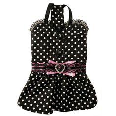 New Ruff Ruff Couture Bijou Black White Polka Dotted Dog Dress Several Sizes | eBay