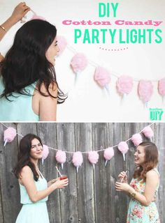 . Cotton Candy Lights tutorial !!!!!! And 2 other cute DIYs for pretty string lights