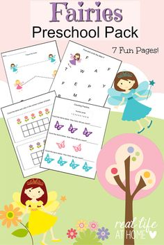 Looking for some fairy worksheet fun for your preschooler? Click through to get the instant downloadable fairy printables for preschoolers!   Real Life at Home