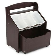 435cc52c45ef Espresso Collection Espresso/White 3-Tier Storage Organizer with Rolling  Toy Box