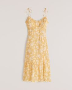 Women's Tie-Strap Ruched Midi Dress | Women's Dresses & Jumpsuits | Abercrombie.com Summer Outfits, Summer Dresses, Formal Dresses, Women's Dresses, Summer Clothes, Yellow And White Dress, Jumpsuit Dress, Wearing Black, How To Wear