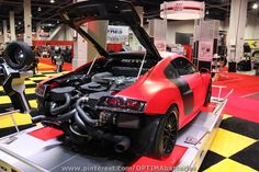 Red #Audi R8 twin turbo. We tried to invite this car to the 2012 #OUSCI but they didn't bring the rear bumper.