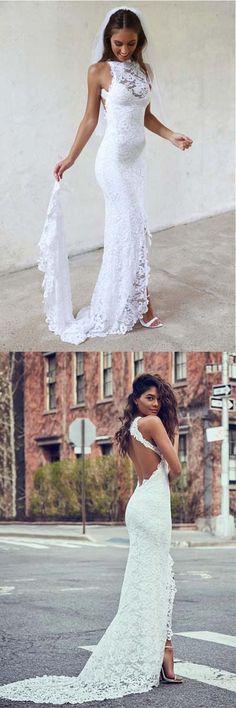 Mermaid Wedding Dresses #MermaidWeddingDresses, Backless Wedding Dresses #BacklessWeddingDresses, Wedding Dresses 2018 #WeddingDresses2018, Lace Wedding Dresses #LaceWeddingDresses