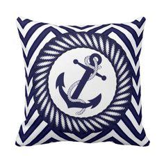 Chic Blue Anchor Zigzag Chevron Pattern