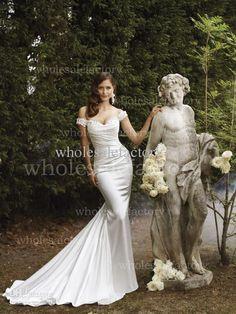 2014 DHgate Spring Summer Mermaid Wedding Dresses Off Shoulder Lace Applique Satin Court Train Vintage Bridal Gown 21370