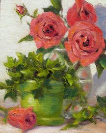Roses & Ivy 8 x 10 Oil Painting by Pat Fiorello