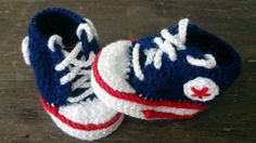 Navy Blue Red and White Crochet Baby by BeautiWoolTreasures