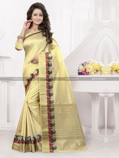 Beige Banarasi Silk Elegant Casual Saree